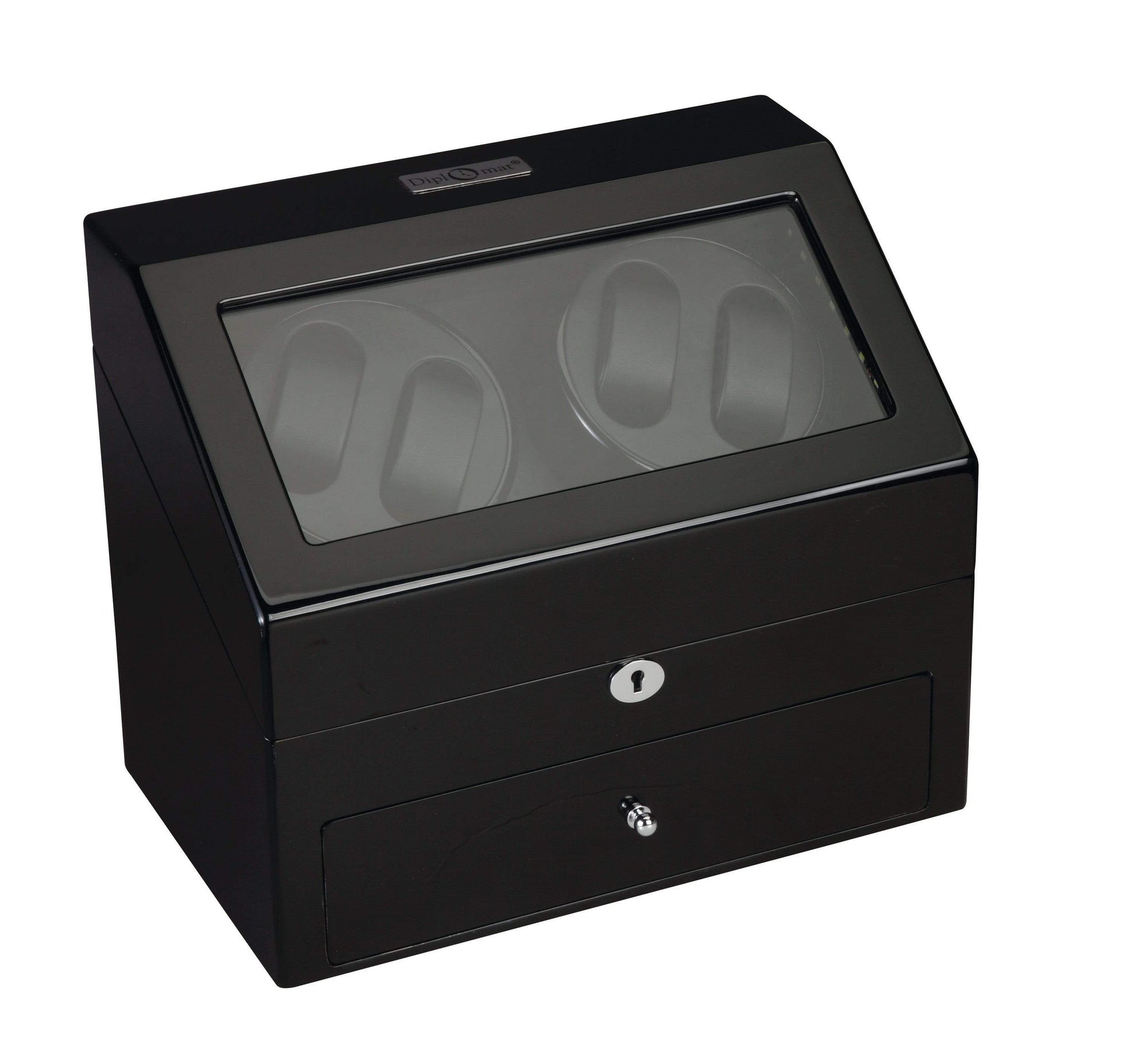 Diplomat Phantom LED Lit Black Wood Finish Quad Watch Winder with Black Interior and Additional Storage for 4 Watches and Smart Internal Bi-Directional Timer Control Armadillo Safe and Vault