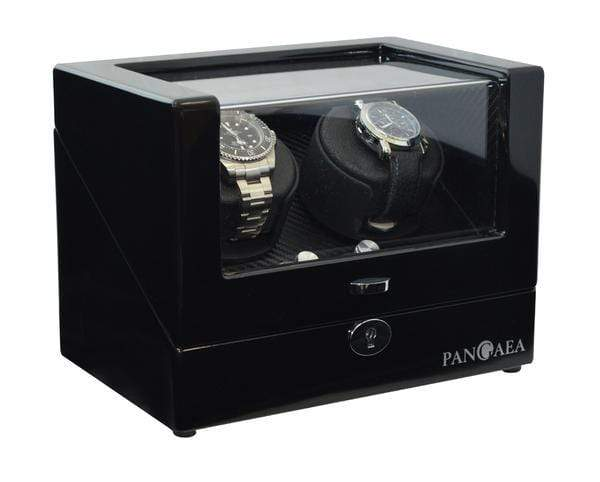 Pangaea D310 Double Watch Winder - Black (Battery or AC Powered) Armadillo Safe and Vault