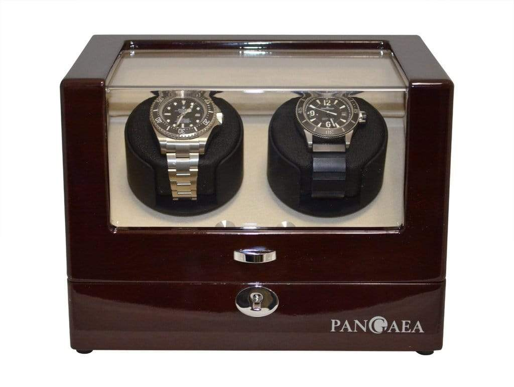 Pangaea D310 Double Watch Winder - Mahogany (Battery or AC Powered) Armadillo Safe and Vault