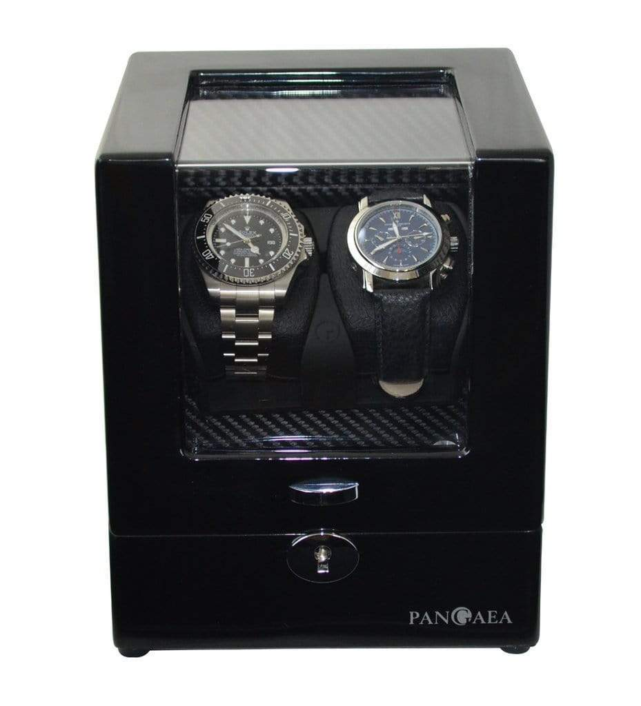 Pangaea D510 Double Watch Winder with LED Lights - Black Armadillo Safe and Vault