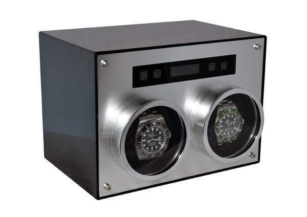 Pangaea D700 Double Metal Watch Winder with Cover (Carbon Fiber) Armadillo Safe and Vault