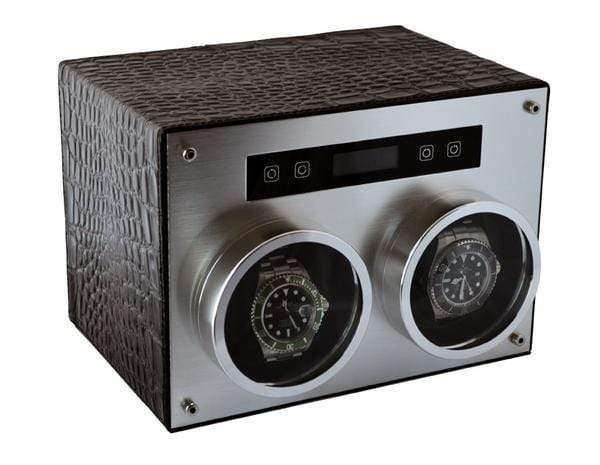 Pangaea D750 Double Metal Watch Winder with Cover (Black Leather) Armadillo Safe and Vault