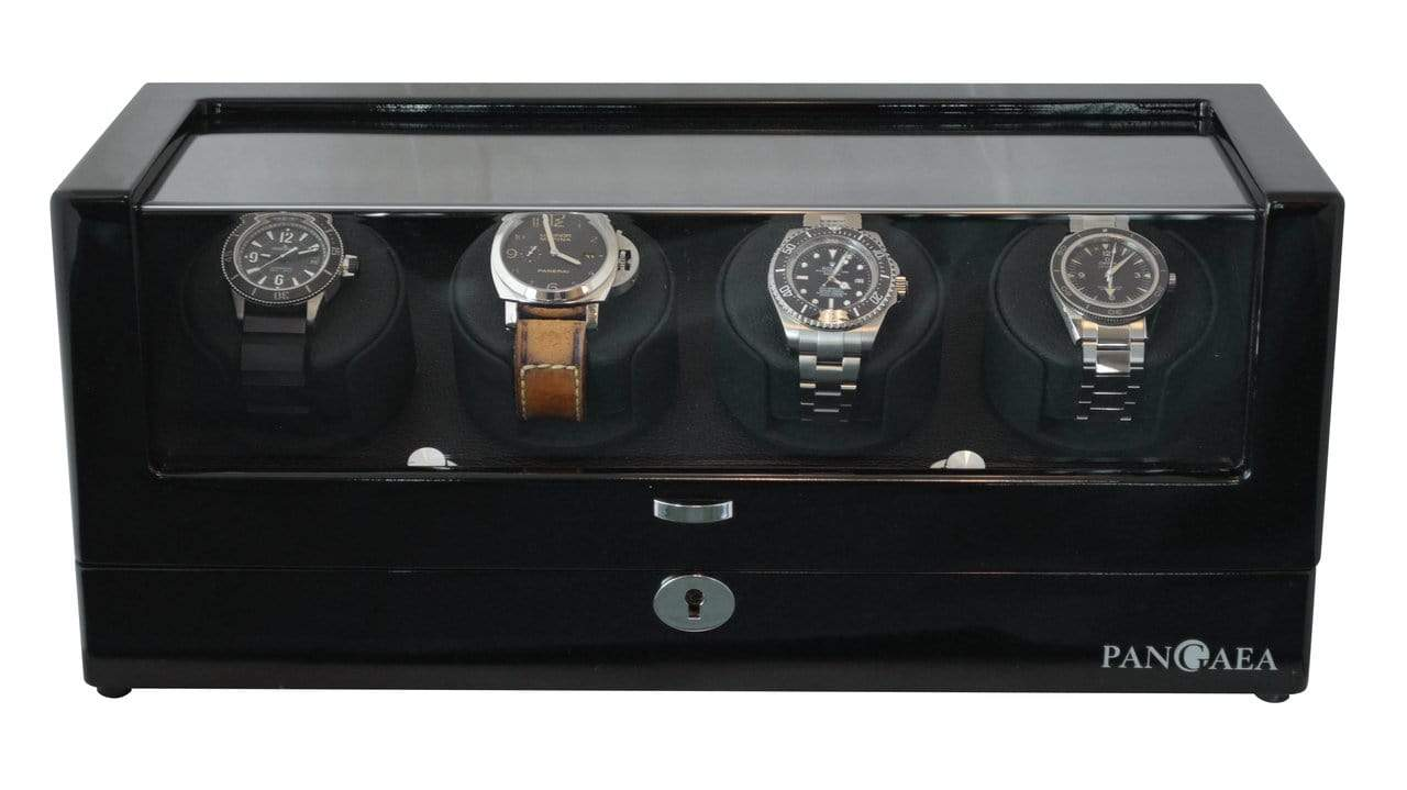 Pangaea Q360 Quad Automatic Four Watch Winder- Black Armadillo Safe and Vault