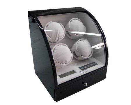 Pangaea Q400 Quad Automatic Watch Winder - Black Armadillo Safe and Vault