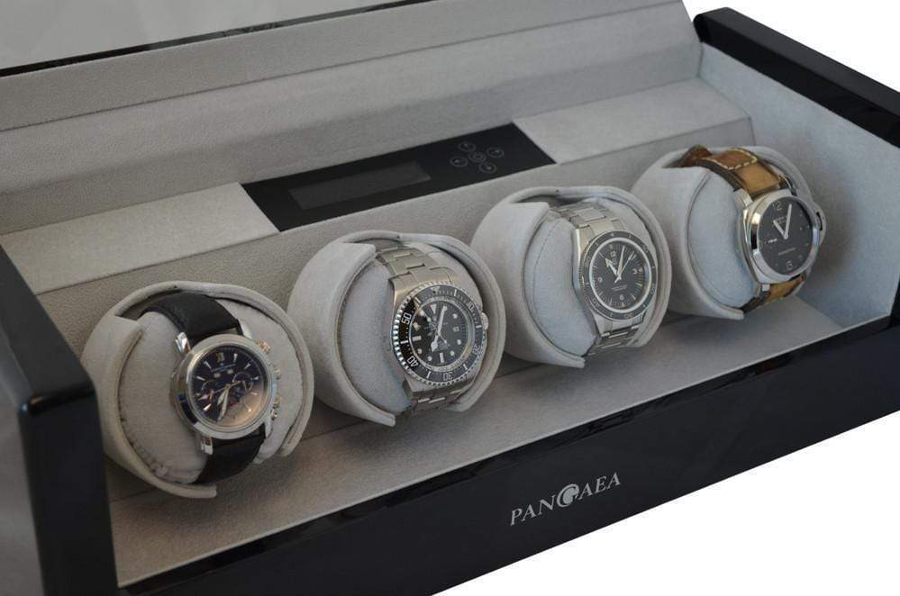 Pangaea Q480 Quad Automatic Watch Winder - Black Armadillo Safe and Vault