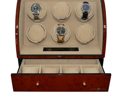 Pangaea Q600 Six Watch Winder (Dark Brown) Armadillo Safe and Vault