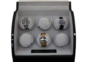 Pangaea Q600 Six Watch Winder (Piano Black) Armadillo Safe and Vault