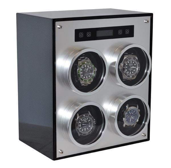 Pangaea Q700 Quad Metal Watch Winder with Cover (Carbon Fiber) Armadillo Safe and Vault