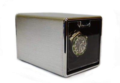Pangaea S100 Single Metal Watch Winder - Silver (Battery or AC Powered) Armadillo Safe and Vault