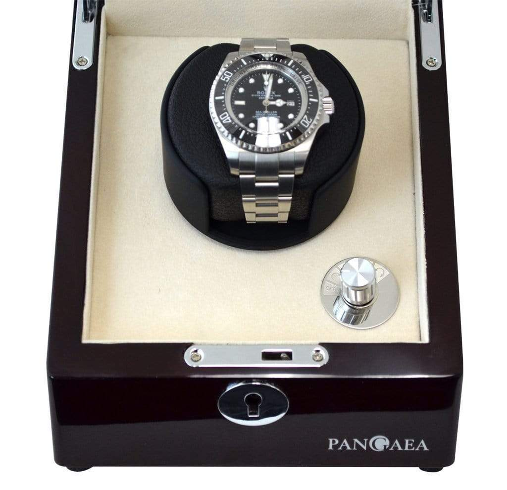 Pangaea S310 Single Watch Winder (Battery or AC Powered) - Mahogany Armadillo Safe and Vault