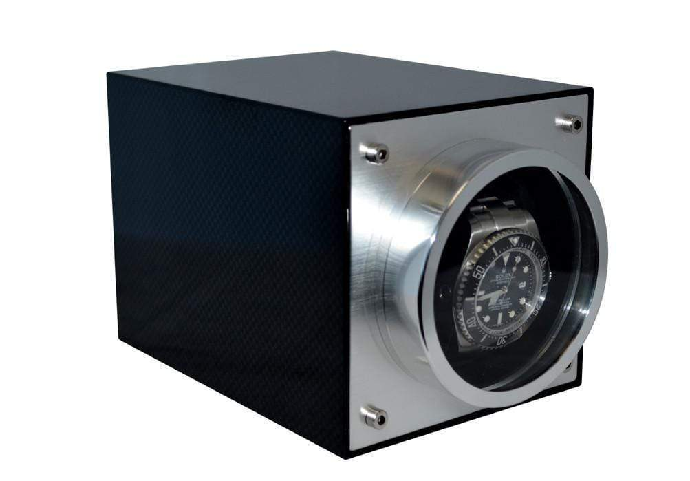 Pangaea S700 Single Metal Watch Winder - Carbon Fiber (Battery or AC Powered) Armadillo Safe and Vault