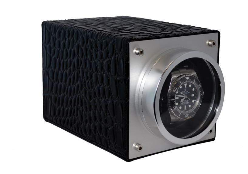 Pangaea S750 Single Metal Watch Winder - Black Leather (Battery or AC Powered) Armadillo Safe and Vault