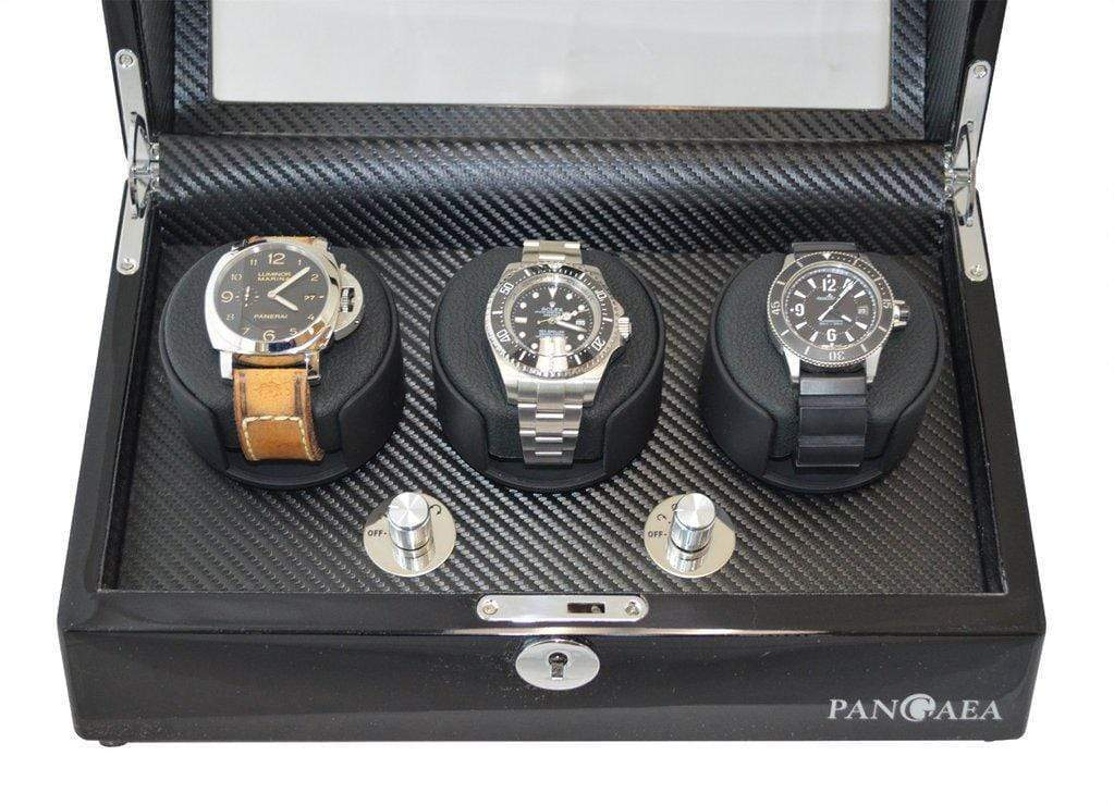 Pangaea T330 Triple Watch Winder - Black (Battery or AC Powered) Armadillo Safe and Vault