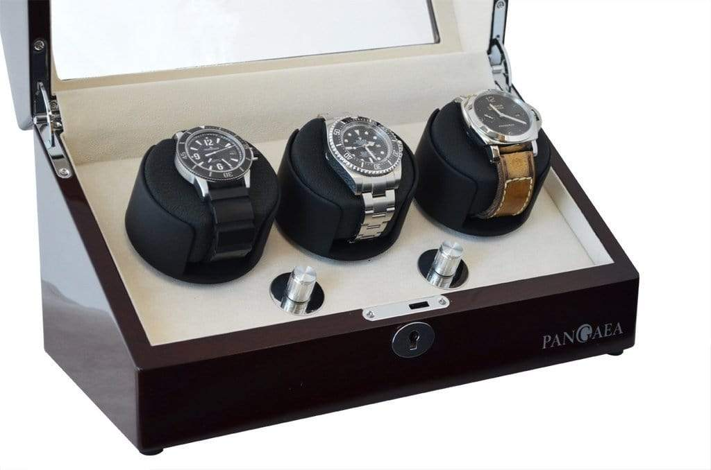 Pangaea T330 Triple Watch Winder - Mahogany (Battery or AC Powered) Armadillo Safe and Vault