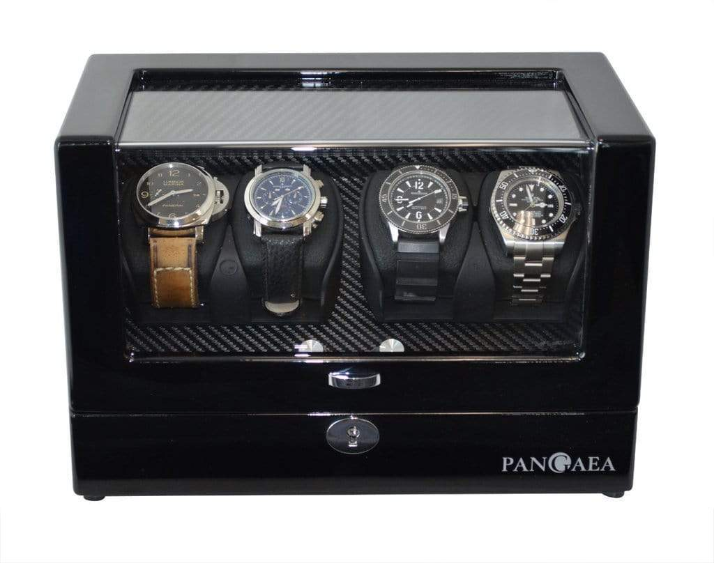Pangea Q350 Quad Automatic Watch Winder with LED Lights - Black Armadillo Safe and Vault