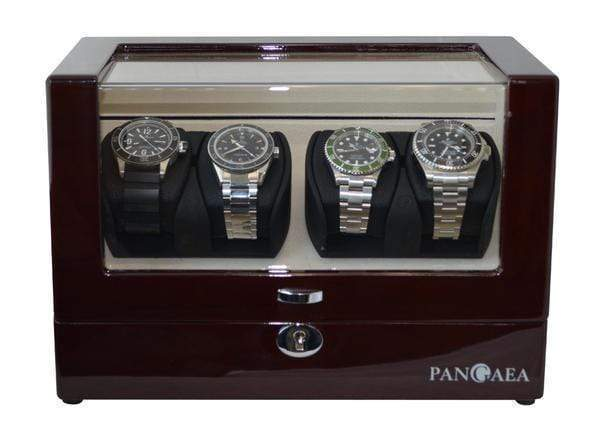 Pangea Q350 Quad Automatic Watch Winder with LED Lights - Mahogany Armadillo Safe and Vault