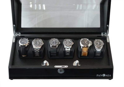 Pangea Q630 Automatic Six Watch Winder with LED Light- Black Armadillo Safe and Vault