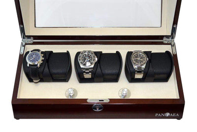 Pangea Q630 Automatic Six Watch Winder with LED Light- Mahogany Armadillo Safe and Vault