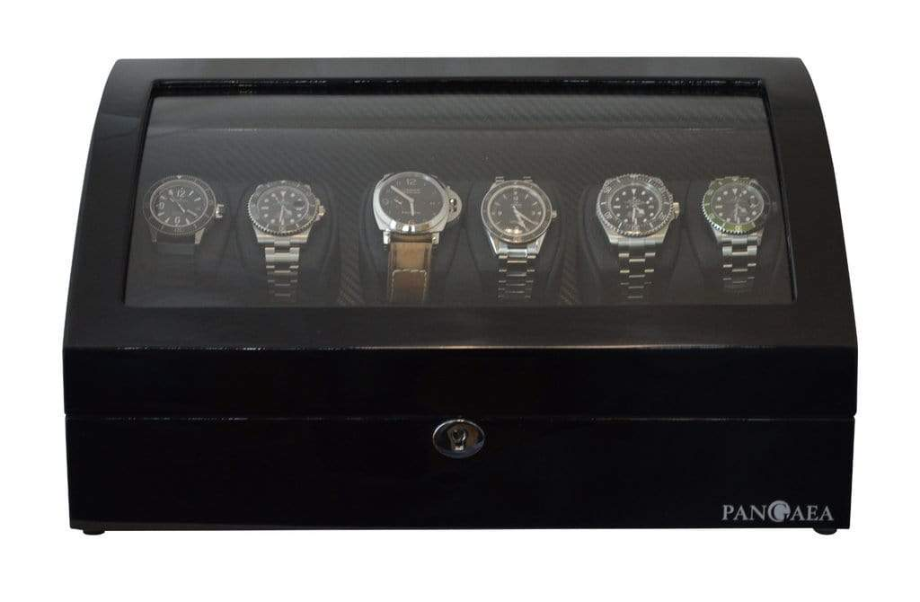Pangea Q650 Automatic Six Watch Winder with LED Light Armadillo Safe and Vault