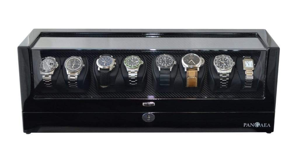 Pangea Q840 Automatic Eight Watch Winder with LED Light (Black) Armadillo Safe and Vault