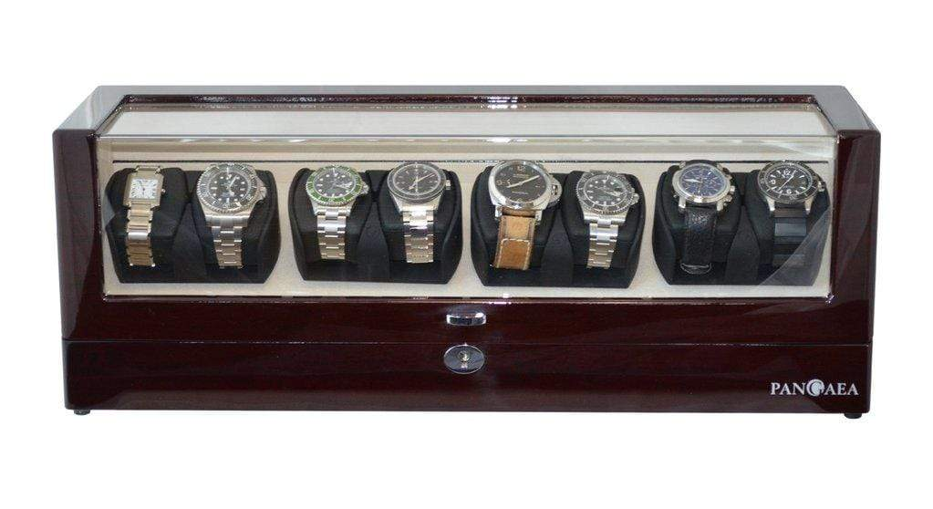 Pangea Q840 Automatic Eight Watch Winder with LED Light (Mahogany) Armadillo Safe and Vault