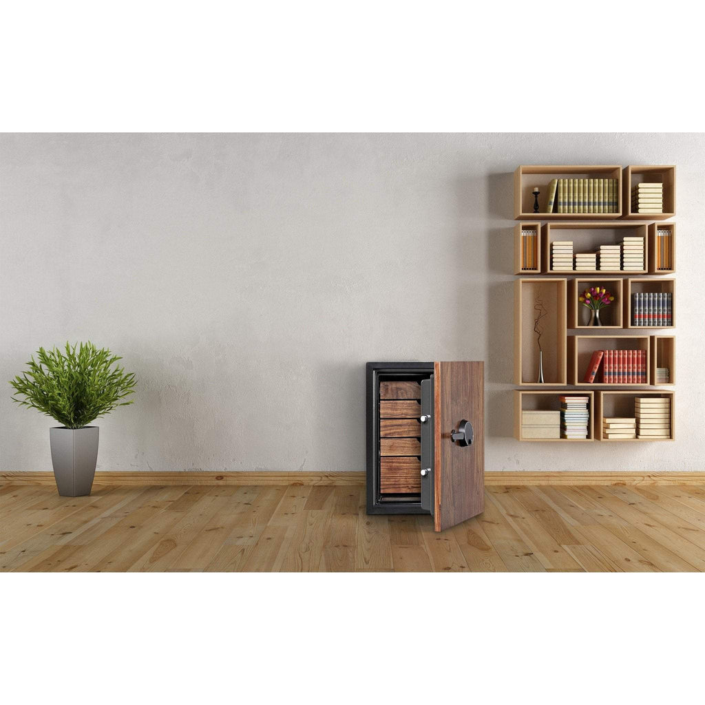 Phoenix DBAUM800 Fingerprint Lock Luxury Fireproof Safe with Walnut Door 3.0 cu ft Armadillo Safe and Vault