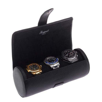 Rapport London Berkeley Black Three Watch Roll Armadillo Safe and Vault