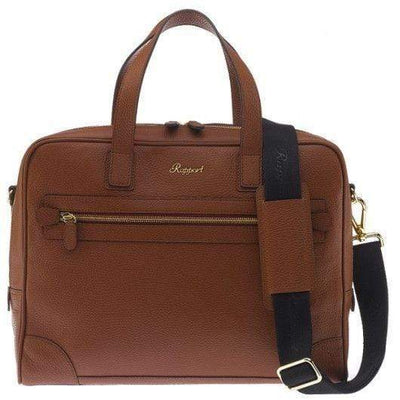 Rapport London Berkeley Tan Laptop Briefcase Armadillo Safe and Vault