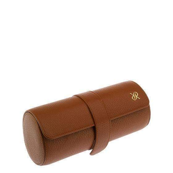 Rapport London Berkeley Tan Three Watch Roll Armadillo Safe and Vault