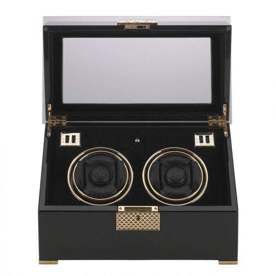 Rapport London Black Rose Duo Watch Winder Armadillo Safe and Vault
