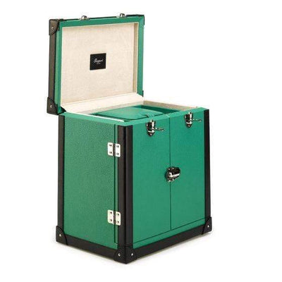 Rapport London Deluxe Jewelry Trunk, Green Leather Armadillo Safe and Vault