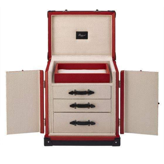 Rapport London Deluxe Jewelry Trunk Red Leather Armadillo Safe and Vault