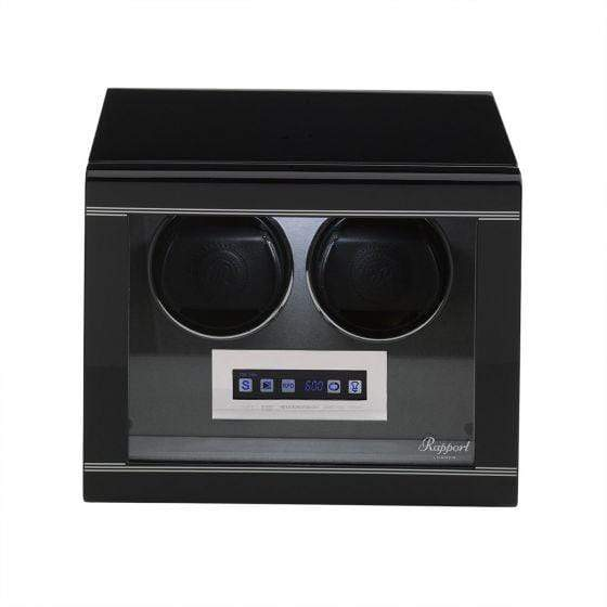 Rapport London Formula Double Watch Winder Black Armadillo Safe and Vault