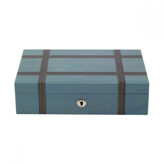 Rapport London Jewelry Box Grey Blue with Charcoal Stripes Armadillo Safe and Vault