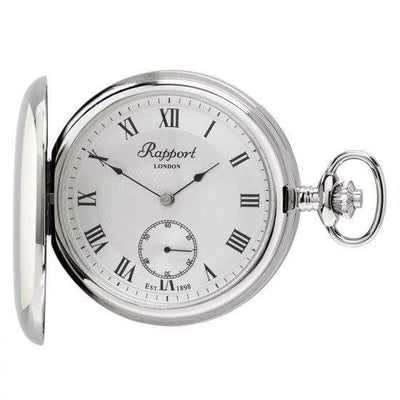 Rapport London Mechanical Full Hunter Silver Tone Pocket Watch Armadillo Safe and Vault