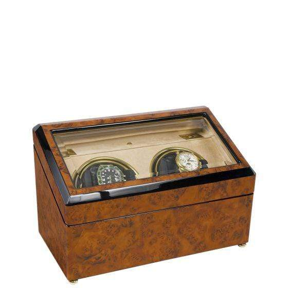 Rapport London Optima Walnut Burr Duo Watch Winder Armadillo Safe and Vault