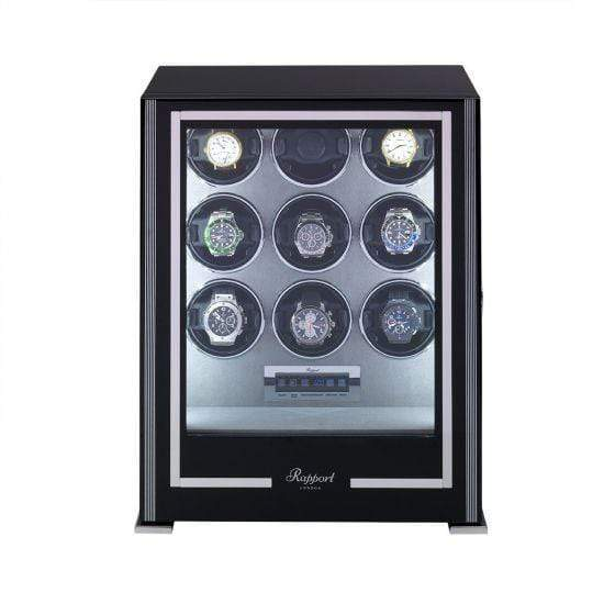 Rapport London Paramount Nine Watch Winder Ebony Armadillo Safe and Vault