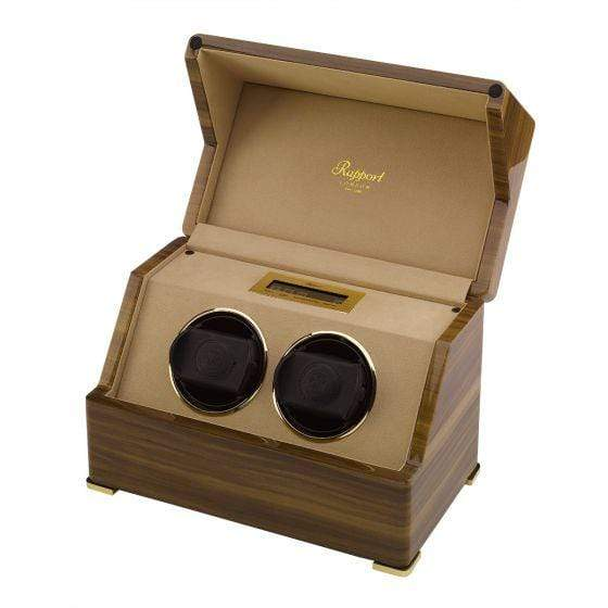 Rapport London Perpetua III Duo Watch Winder Touch Screen Walnut Finish Armadillo Safe and Vault
