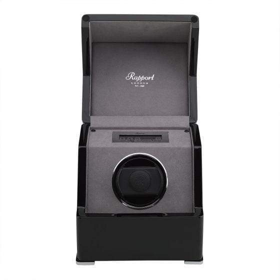 Rapport London Perpetua III Single Watch Winder Touch Screen Black Armadillo Safe and Vault