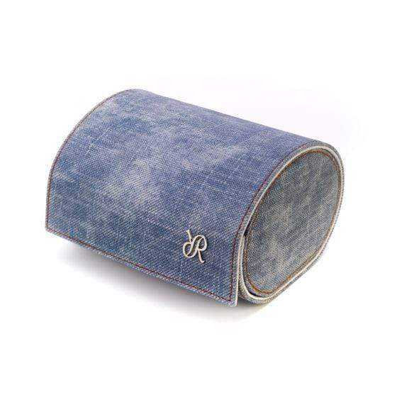 Rapport London Soho Blue Denim Double Watch Roll Armadillo Safe and Vault