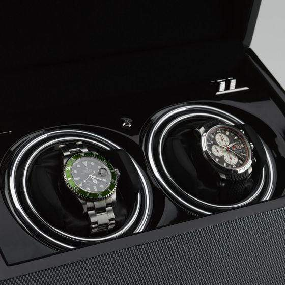 Rapport London Vogue Carbon Fibre Duo Watch Winder Armadillo Safe and Vault