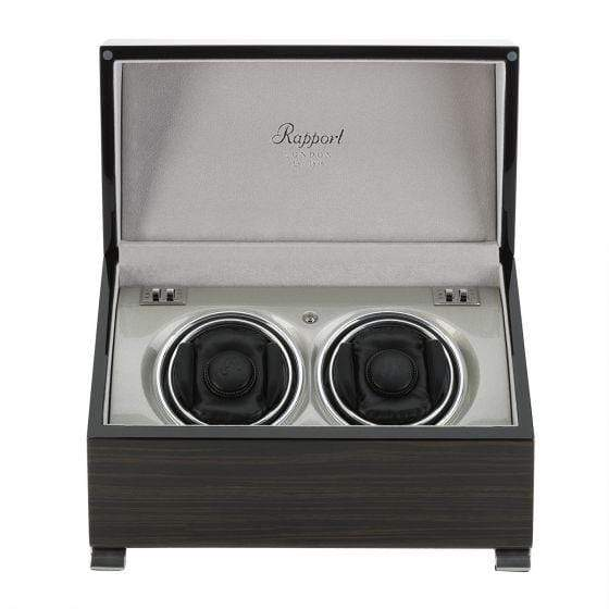 Rapport London Vogue Macassar Duo Watch Winder Armadillo Safe and Vault