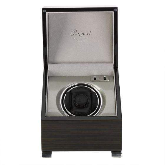 Rapport London Vogue Macassar Mono Watch Winder Armadillo Safe and Vault