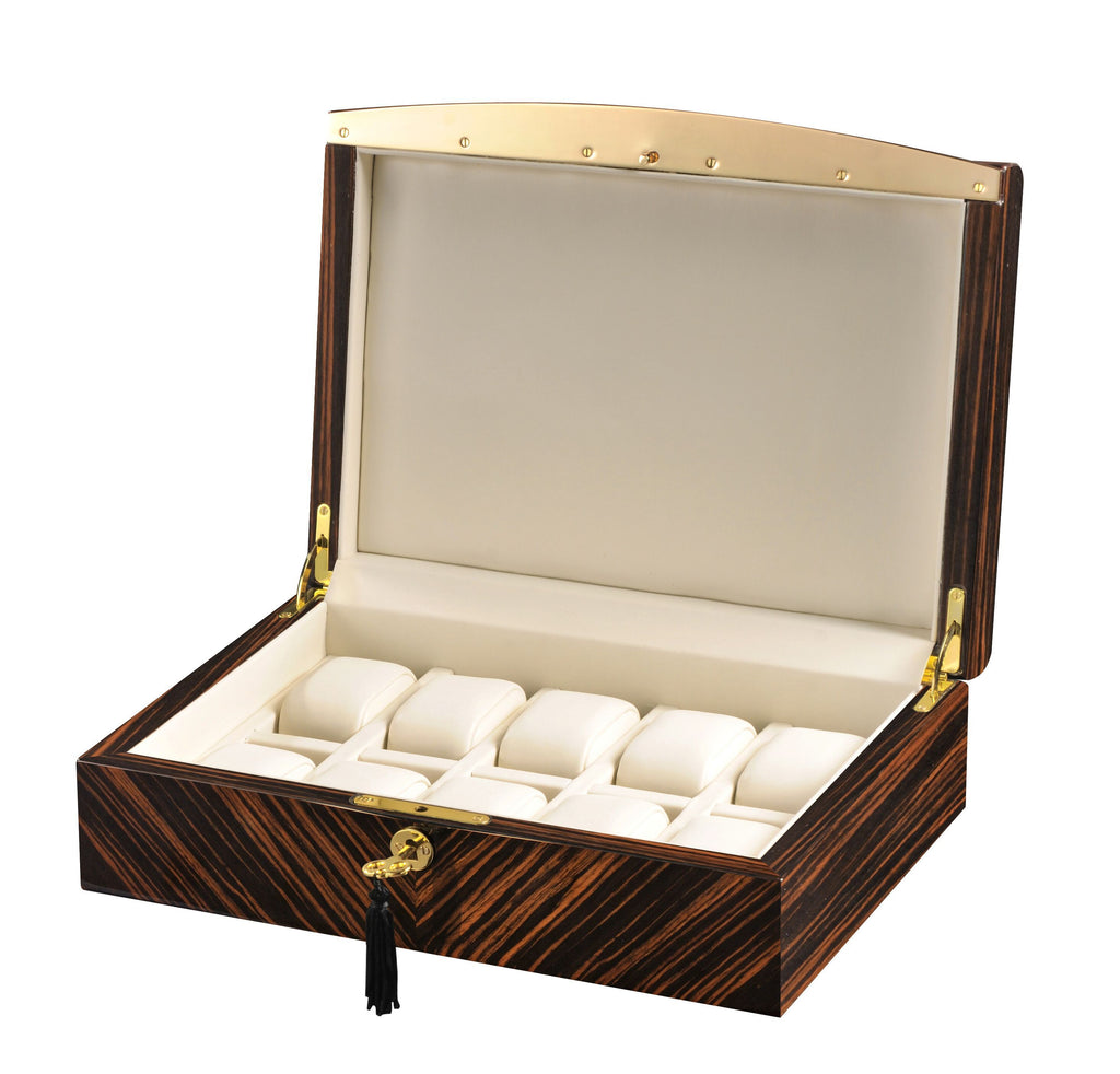 Volta - 31560932 10 Watch Case with Gold Accents and Cream Leather Interior- Ebony Wood Armadillo Safe and Vault