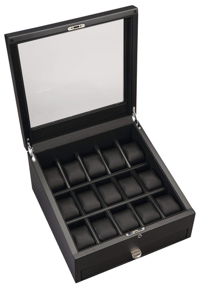 Volta - 31560970 15 Watch Case with Additional Storage and See Through Top- Carbon Fiber Armadillo Safe and Vault
