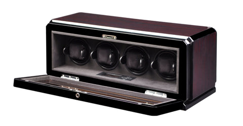 Volta - 31570042 4 Watch Winder- Rosewood Armadillo Safe and Vault