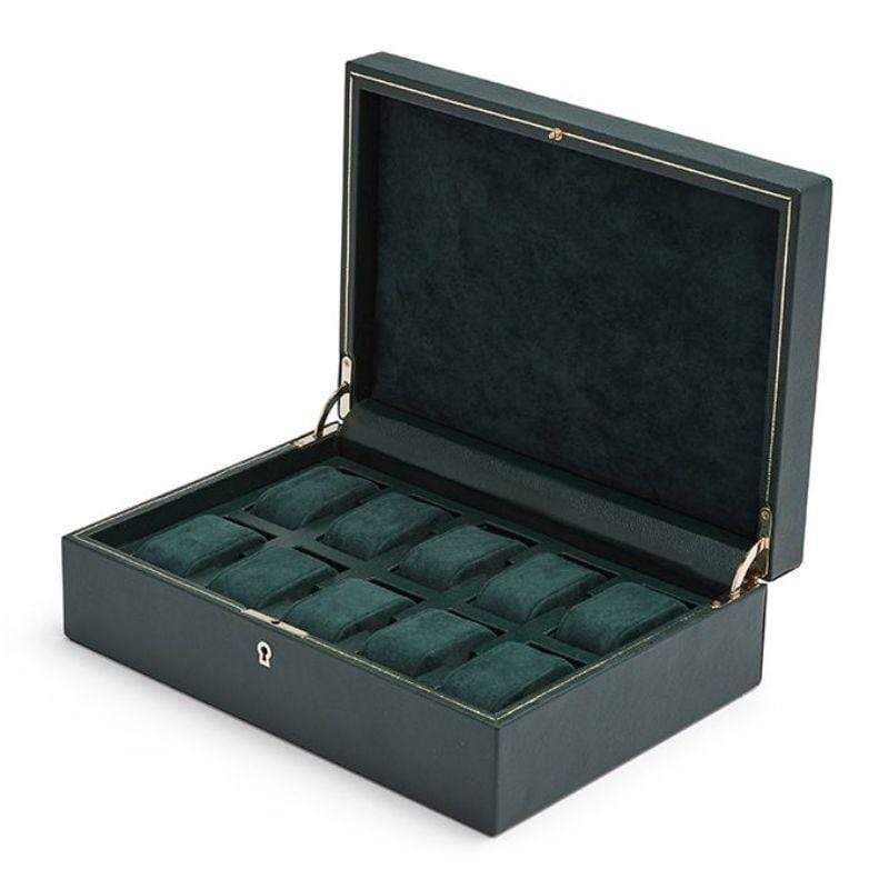 WOLF British Racing Green 10 Piece Watch Box Armadillo Safe and Vault