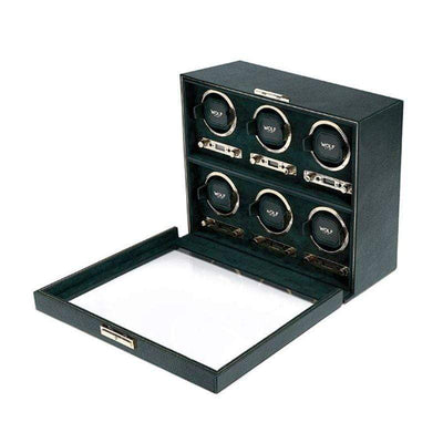WOLF British Racing Green 6 Piece Watch Winder Armadillo Safe and Vault