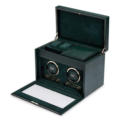 WOLF British Racing Green Double Watch Winder Armadillo Safe and Vault