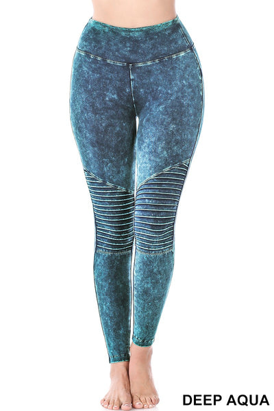 MINERAL WASHED FULL LENGTH WIDE WAISTBAND MOTO LEGGINGS